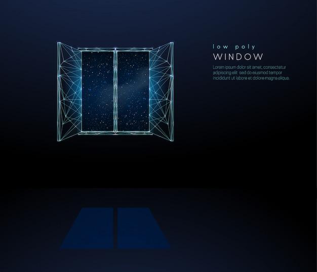 Finestra aperta astratta all'universo. design in stile low poly