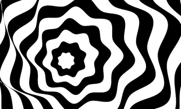 Disegno astratto di vettore del fondo di illusione ottica. sfondo bianco e nero a strisce psichedelico. modello ipnotico.