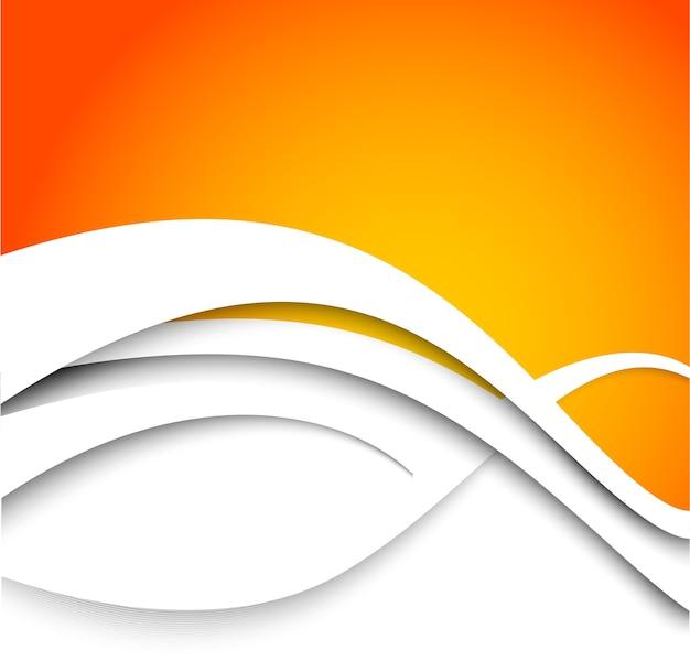 Fondo arancio astratto con le onde bianche.