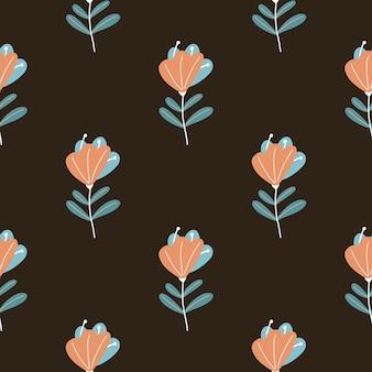 Modello senza cuciture delle siluette del fiore dello scarabocchio colorato arancio astratto.