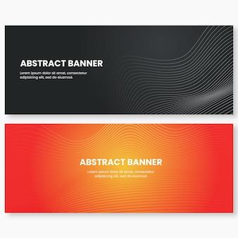 Banner di sfondo astratto arancione e grigio scuro onde