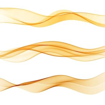 Linee arancioni astratte divisore raccolta di tre belle onde swoosh velocità gradiente. flusso d'onda