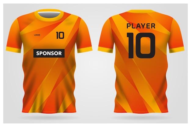 Divisa arancione astratta della maglia da calcio per la squadra di calcio, vista anteriore e posteriore della maglietta