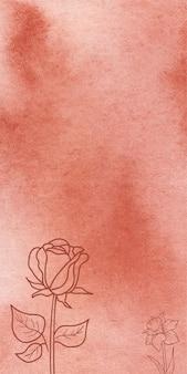 Fondo arancio astratto di struttura dell'insegna dell'acquerello con i fiori disegnati a mano