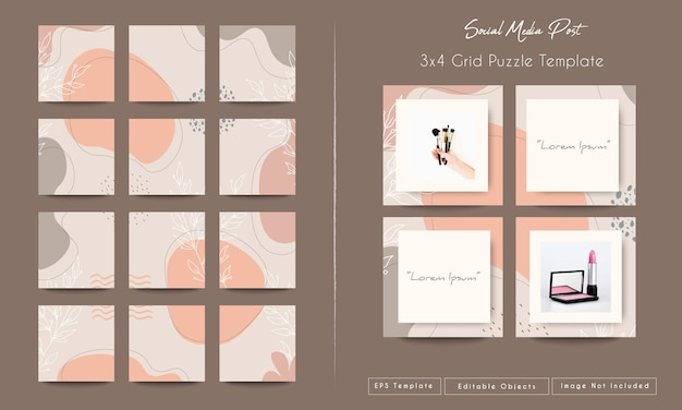 Sfondo astratto forme organiche per social media e instagram nel modello di posta puzzle di griglia