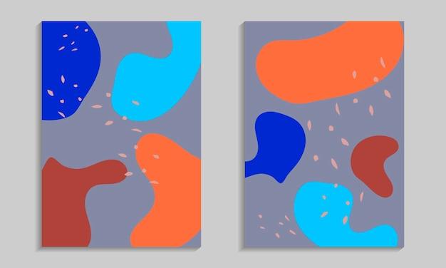 Insieme del manifesto di forme organiche astratte. modelli di volantini con elementi ondulati.