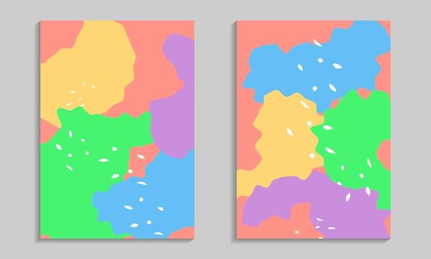 Insieme del manifesto di forme organiche astratte. modelli di volantini con elementi ondulati. Vettore Premium