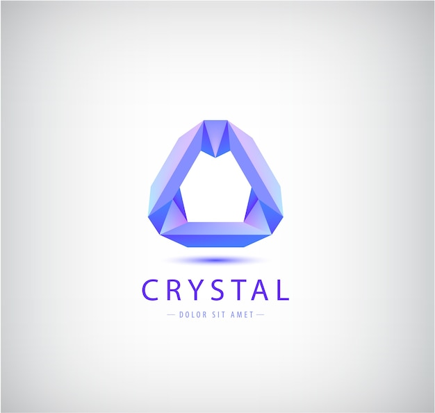 Origami astratto, forma geometrica di cristallo, logo, identità aziendale. futuristico moderno, icona di tecnologia isolata