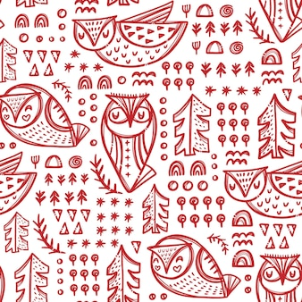 Gufi astratti variazioni di uccelli della foresta con alberi e altre piante in colore rosso su sfondo bianco disegnato a mano senza cuciture