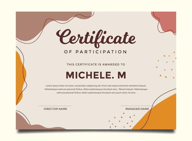 Modello di certificato colorato dipinto astratto