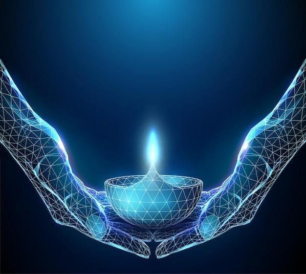 Coppia astratta di mani che tengono la lampada incandescente diwali