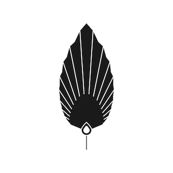 Siluetta astratta della foglia di palma nello stile semplice. emblema di boho foglia tropicale essiccata di vettore. illustrazione floreale per creare logo, motivi, stampe di t-shirt, design di tatuaggi, post sui social media e storie