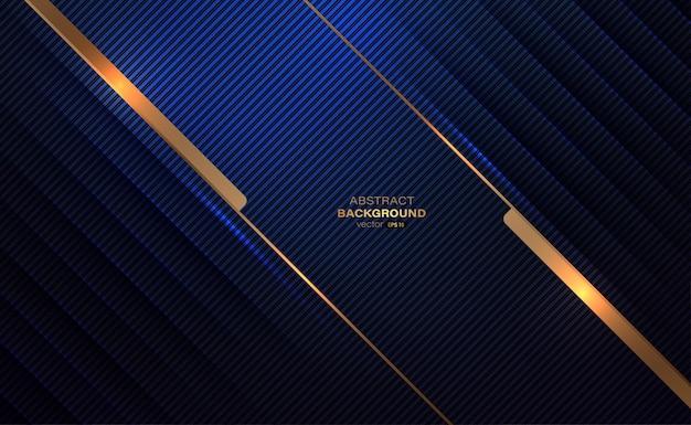Striscia astratta della linea di decorazione tagliata in carta linea dorata e luce con strati su sfondo blu scuro