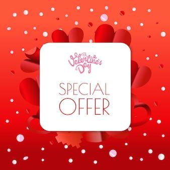 Banner di offerta speciale di san valentino origami di carta astratta. layout colore poster vettoriale