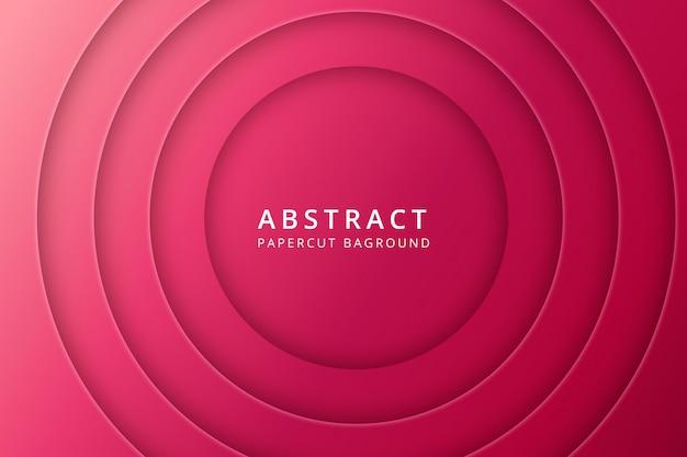 Sfondo astratto papercut. design texture in vibrante colore rosa rosso