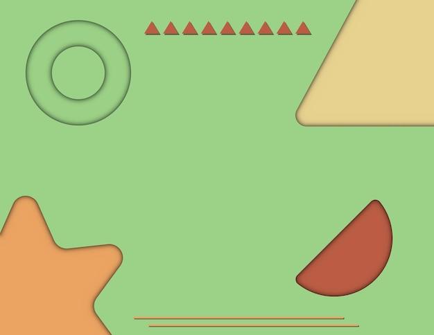 Poster di sfondo sfumato arancione, verde, rosso astratto papercut