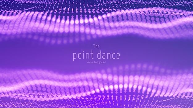 Onda di particelle astratte, array di punti, sfondo della forma d'onda di danza