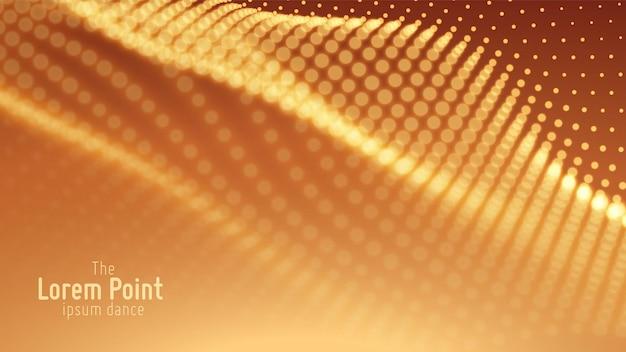 Onda di particelle astratte, array di punti con profondità di campo ridotta. illustrazione futuristica. tecnologia digitale splash o esplosione di punti dati. forma d'onda della danza di pont.