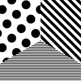 Motivo astratto con punti e strisce nere