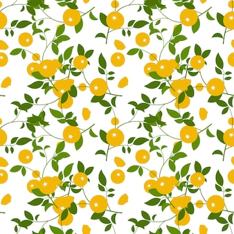 Modello astratto con arancia e foglie su sfondo bianco. illustrazione vettoriale.