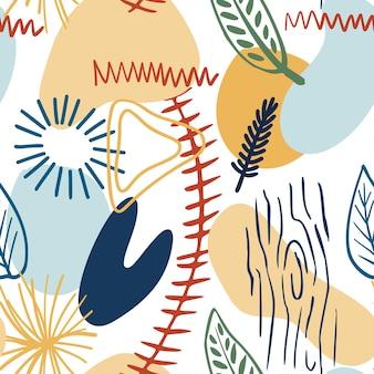 Modello astratto con forme organiche in colori pastello giallo senape, blu. sfondo organico con macchie. modello senza cuciture del collage con struttura della natura. tessuto moderno, carta da imballaggio, design per pareti