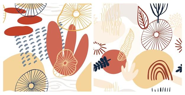 Modello astratto con forme organiche in colori pastello giallo, rosso. sfondo organico con macchie. modello senza cuciture del collage con struttura della natura. tessuto moderno, carta da imballaggio, design per pareti