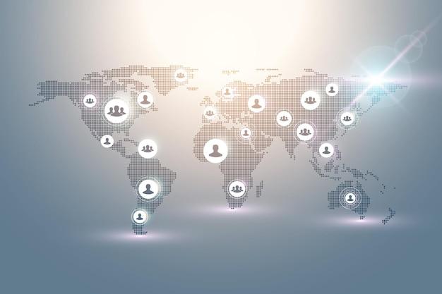 Concetto astratto di tecnologia del collegamento della gente con il globo punteggiato del mondo. concetto di business globale e sfondo della tecnologia internet. processi aziendali moderni. reti analitiche. illustrazione vettoriale