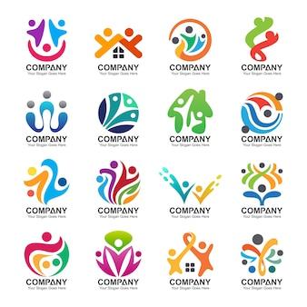 Persone astratte e raccolta di logo di famiglia, icone di persone, modello di logo di salute, simbolo di cura