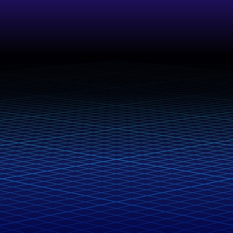 Griglia blu prospettiva astratta. paesaggio wireframe.