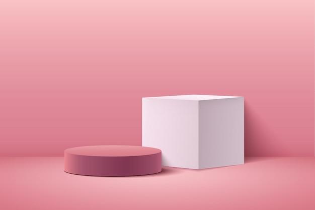 Cubo rosa astratto e display rotondo per la presentazione del prodotto