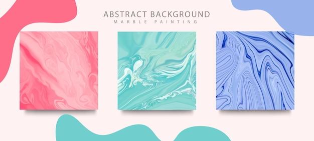 Copertine astratte rosa, verdi e blu e blu di pittura a inchiostro liquido mix di colori.