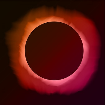 Fondo rosa ed arancio astratto con lo spazio della copia. eclissi di sole nel cielo notturno. illustrazione per poster, pubblicità, banner, biglietto di auguri. forma rotonda nera con bagliore.