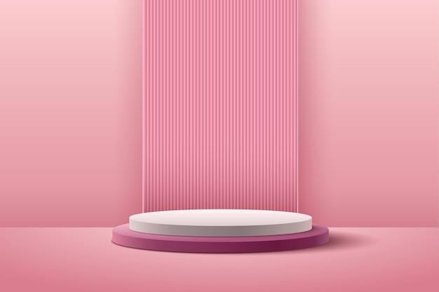 Espositore rotondo rosa astratto per la presentazione del prodotto