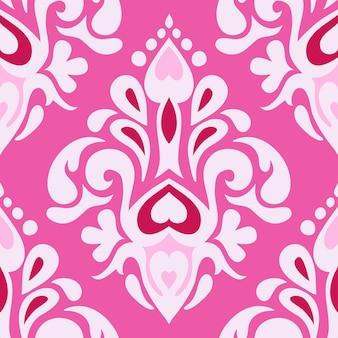 Modello vettoriale ornamentale di lusso vintage senza cuciture rosa astratto per tessuto