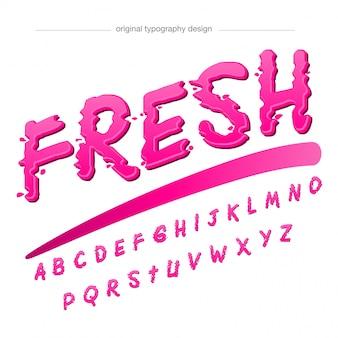 Tipografia rosa astratta di goccioline e spruzzata