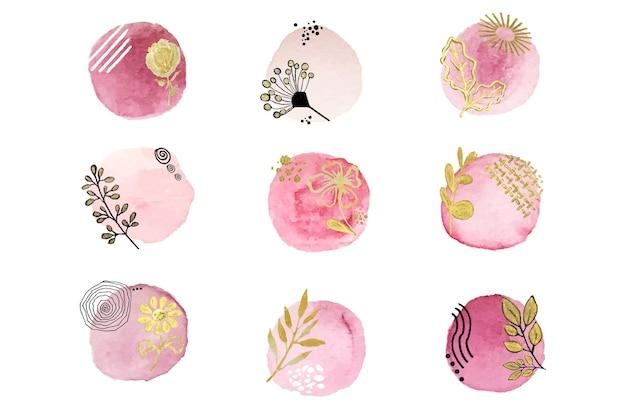 Macchia rosa astratta dell'acquerello con disegni di fiori e foglie