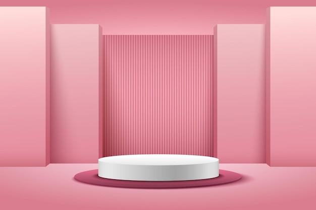 Esposizione rotonda rosa e bianca astratta per prodotto. colore pastello di forma geometrica del rendering 3d.