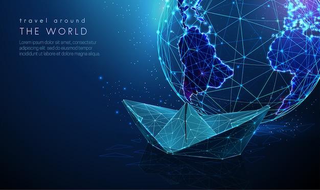 Terra del pianeta astratto con nave di carta. concetto di turismo. design in stile low poly. sfondo geometrico blu. wireframe struttura di collegamento della luce. grafica moderna. illustrazione isolata