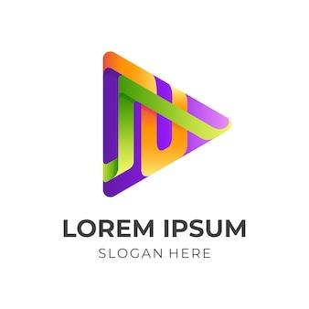 Design del logo di gioco astratto con stile colorato 3d