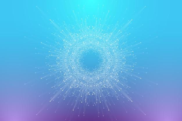 Fondo astratto del plesso con linee collegate e punti molecola circolare o banner di comunicazione b...