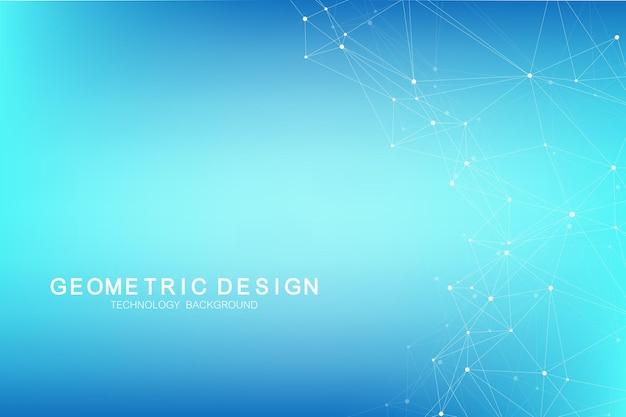 Fondo astratto del plesso con linee e punti collegati. effetto geometrico del plesso. complesso di big data con composti. plesso di linee, schiera minima. visualizzazione dei dati digitali. illustrazione vettoriale.