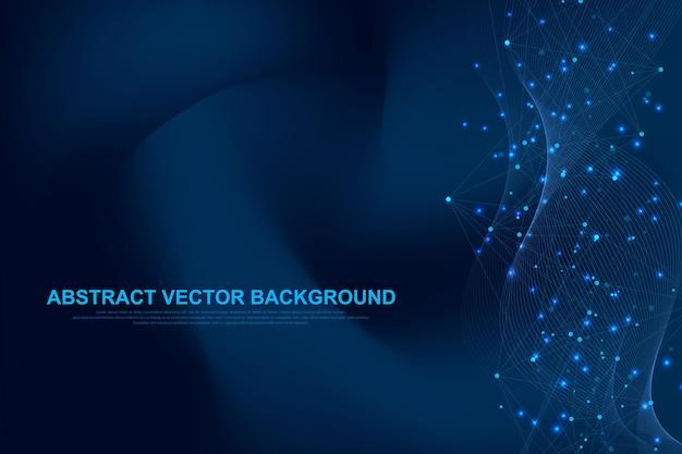 Fondo astratto del plesso con linee e punti collegati. effetto geometrico del plesso big data con composti. plesso di linee, schiera minima. visualizzazione dei dati digitali. illustrazione vettoriale