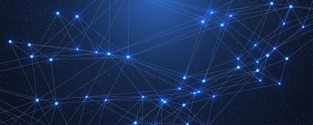 Fondo astratto del plesso con linee e punti collegati. effetto geometrico del plesso. visualizzazione dei dati digitali. elemento low-poly in stile tecnologico futuristico per il design. illustrazione vettoriale.