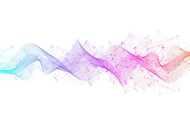 Sfondo astratto plesso con linee e punti collegati. effetto geometrico plesso. visualizzazione dei dati digitali. elemento a basso numero di poligoni in stile tecnologia futuristica