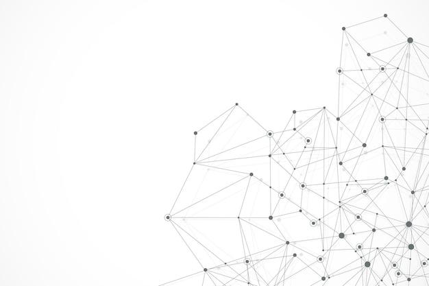 Fondo astratto del plesso con linee e punti collegati. flusso dell'onda. effetto geometrico del plesso big data con composti. plesso di linee, schiera minima. visualizzazione dei dati digitali. illustrazione vettoriale.