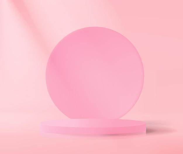 Podio astratto su sfondo rosa in stile minimalista