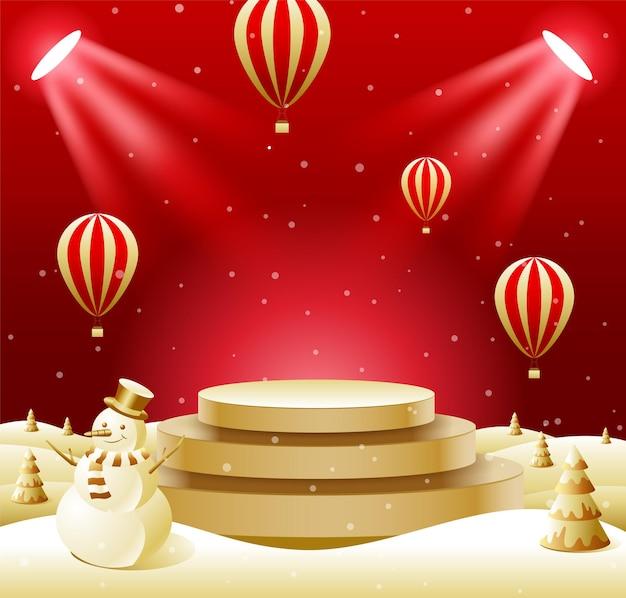 Esposizione astratta del prodotto di esposizione del podio, natale, felice anno nuovo