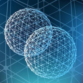 Fondo poligonale astratto ambito delle linee e sfera delle linee collegate ai punti