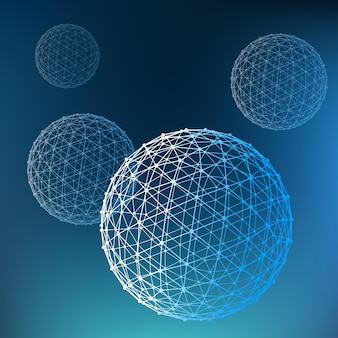 Fondo poligonale astratto ambito di linee e punti sfera delle linee collegate a punti