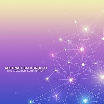 Fondo poligonale astratto con linee e punti collegati. motivo geometrico minimalista. struttura e comunicazione della molecola. sfondo grafico del plesso. scienza, medicina, concetto di tecnologia.